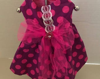 XS Small Dog Dress+Valentines Day Dress+Chihuahua Clothes+Yorkie Clothes+Maltese Clothes + Harness Dress