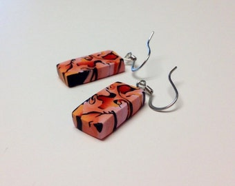 Hot summer coral, black, and tangelo drop earrings