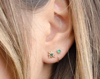 Tiny Lab Emerald Hug Hoops, Sterling Silver Gold Plated, Gemstone Hug Earrings, Open Hoop, Minimal Lunaijewelry, Handmade, Gift, EAR030LEM