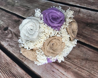 Lavender, Natural, & Ivory Bridesmaids Bouquets (Choose Size) 1 Bouquet - Burlap Wedding Bouquets, Bridesmaids Bouquets, Rustic Bouquets