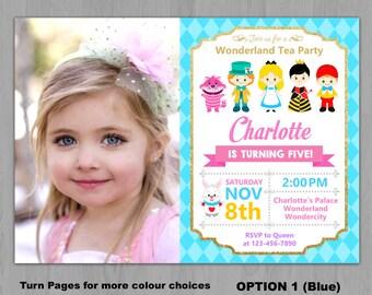 Alice in Wonderland Invitation, Alice Wonderland invitation, Alice in Onederland Invitation, Alice in Wonderland Photo invitation