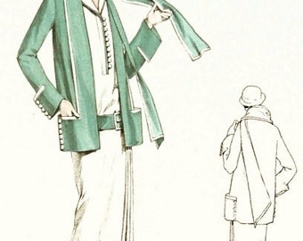 Classic 1920s dress and jacket sewing pattern. Short sleeves and navy collar.