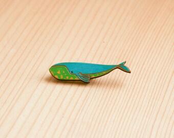 Wooden brooch whale black purple sea badge gift idea custom colors
