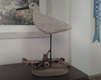 Hard Carved and Hand Painted Bird - Willet