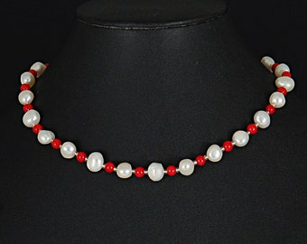 1812 inspired coral and freshwater pearls by Sylvan Creations.  Historical inspired chocker.