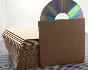 Set of 60 CD sleeves - natural Kraft brown, 100% recycled & eco-friendly  - DVD, CD wedding favors, photography packaging