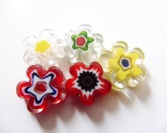 "5 millefiori flowers 13 mm ""assortment3"""