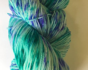 Fluffy sock 85/15 superwash nylon hand dyed hand painted indie dyed yarn teal blue and purple