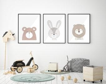 Baby Animal Kids Illustration for Children Bedroom Downloadable Artwork A4 and A3