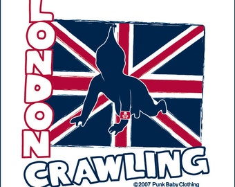 London Crawling hand screen printed, red/white, kids, baseball tee for London Calling & The Clash fans