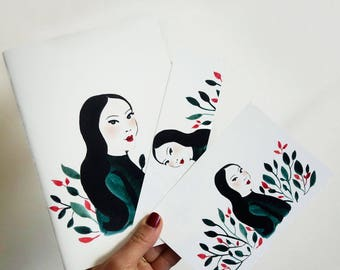 book, postcard and bookmark - Notebook by Claudia Amaral