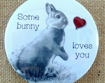 """Fridge Magnet, 3.5"""", Bunny in Pencil, Some Bunny Loves You, Humor, Pun, Cute Gift for Valentine, All Occasion"""