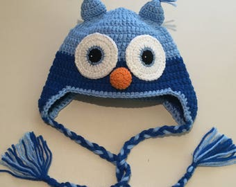 Blue Crocheted Owl Hats