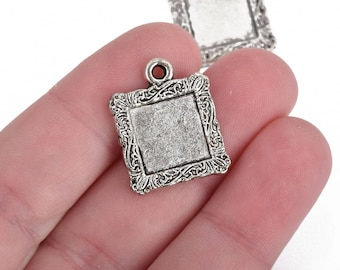 5 Silver Square Bezel Tray Charms, 23mm, tray fits 12mm square, chs3856
