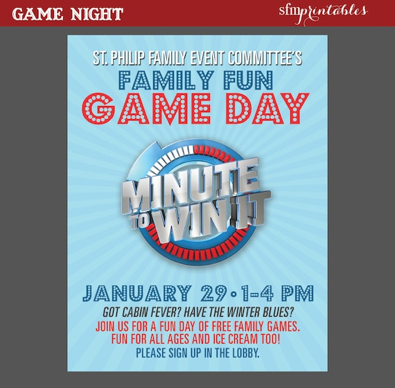 Game Night Poster Minute To Win It Template Church School
