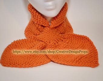 Knit Orange Ascot Scarf - Pull Through Keyhole Stay Put Popular Ascot Short Scarf Top Trend Christmas Gift Winter wear Men Women
