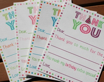 Fill in the Blank Birthday Thank You Note Card  - Boy or Girl - Additional Colors Available