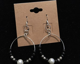 Black and Pearl Hoops