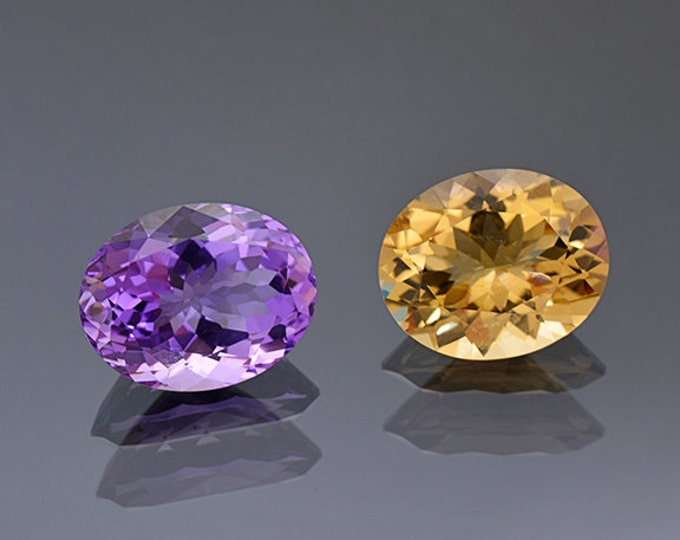 Beautiful Amethyst and Citrine Gemstone pair from Bolivia 16.98 tcw