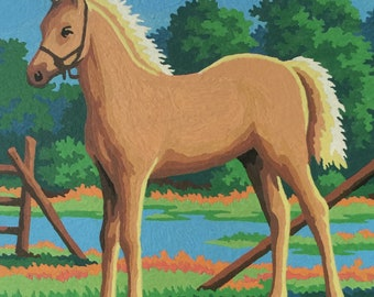 Paint By Number Painting, Vintage Paint By Number, Vintage PBN, Blonde Pony Painting, Horse Paint By Number