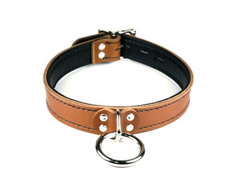 """Brown Collar with Black Leather Lining, """"O"""" Ring & Locking Buckle"""