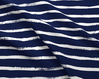 Thin Stripe Fabric - Thin Stripe Indigo 02 By Crystal Walen - Thin Indigo White Horizontal Stripe Cotton Fabric By The Yard With Spoonflower