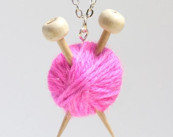 Pink Wool Knitters Necklace - Ball of Yarn and Knitting Needles