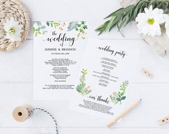 Printable Wedding Program, Wedding Program Template, Greenery Wedding, Ceremony Printable Template, Editable PDF Instant Download #E034