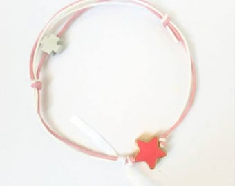 Pink bracelet with a pink enamel star and a wooden cross,  set of 25 pcs
