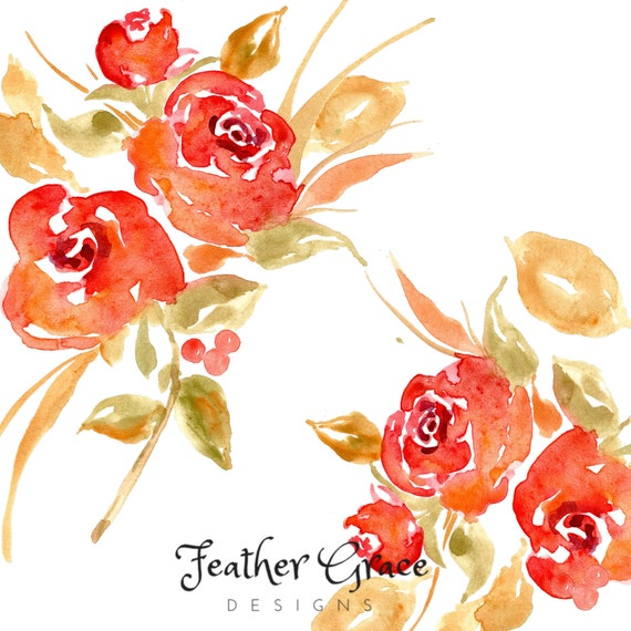 Watercolor Flowers Watercolor Clipart Red Flower Clipart