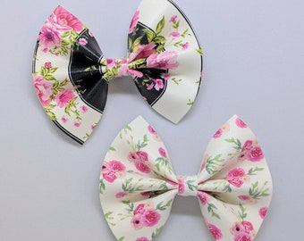 """Floral Hair Bow-Alligator Clip-Baby Headband-Photo Prop-Faux Leather-Toddler Hair Accessories-3"""" hair bow"""
