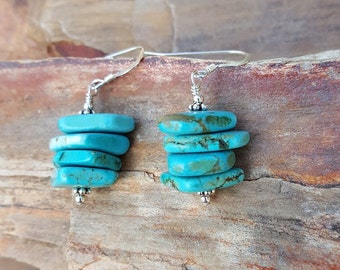 Turquoise and Sterling Silver Earrings, Small Turquoise Earrings, Chunky Blue Turquoise Magnesite and Sterling Silver Dangle Drop Earrings