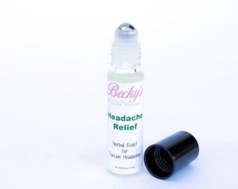 ORGANIC Herbal Roll On -- Headache Relief -- Organic Herbal Remedy -- 7ml