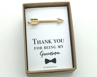 Gift for groomsmen, best man, Arrow tie bar, silver or gold arrow tie clip, carded Thank you for being my groomsman, wedding party gifts