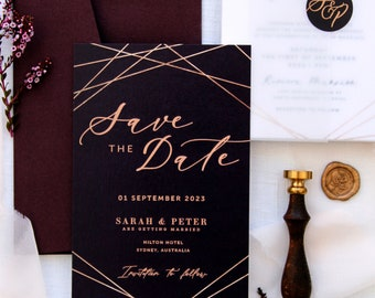Loraina Burgundy Save the Date Cards, Printable Files or Printed Cards, Geometrical Save the Date Cards, Maroon, Gold, Burgundy
