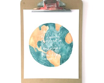 Watercolor globe print, Marcel Proust quote, Voyage of Discovery