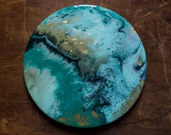 Turquoise Gold Mixed Media Resin Painting