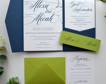 Navy Wedding Invitations, Navy Blue Wedding Invitations, Blue and Lime Wedding Invitations, Green Wedding, Pocketfold Invitation, p026