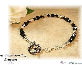 Crystal Bracelet, Basic Black Crystal Bracelet with Sterling Silver, Minimalist Gift Jewelry - B906-03