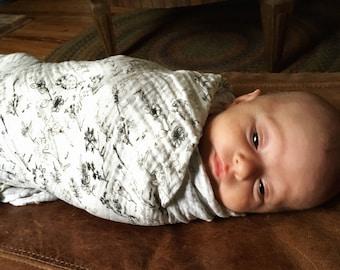Organic Cotton Gauze Swaddling Blanket, Baby Blanket, Swaddler, Baby Wrap, Botanical Sketch Print