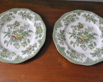 Set of 2 Green Transferware Plates in the Kent Green Multicolor Pattern by Wedgwood