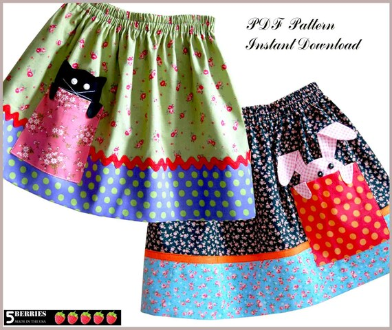 Peek-a-boo Girls SKIRT PATTERN 12m-12y + Free Mother-Daughter Apron ...