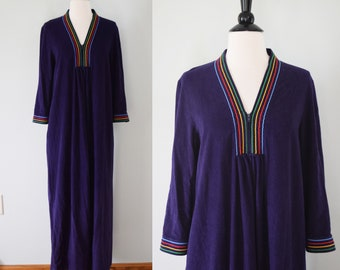 Vintage 70s navy blue velour caftan / rainbow striped primary colors beach coverup / loungewear
