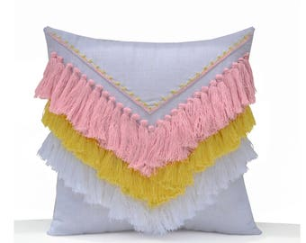 Pink Yellow White Shaggy Pillow, Boho Pillow Cover, Geometric Decorative Pillow Cover, Kids Room Pillow, Dorm Pillow, Housewarming Gifts