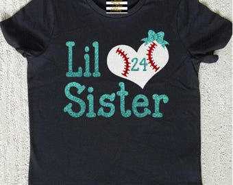 Baseball Little Sister Heart Shirt Personalized With Number