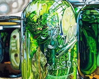 mason jar painting,pickle painting,mason jar print, pickle print,fine art print,food painting,food print,canning painting, canning print