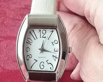 Avon Vintage 90s Silver with White Cuff Bracelet Watch