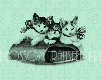 Cats - Vintage Digital Graphics - Iron on fabric, burlap, download for papercrafts - Printables - DIY - 2271
