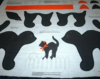 Halloween Black Cat with Bow  Fabric Panel for Stuffing
