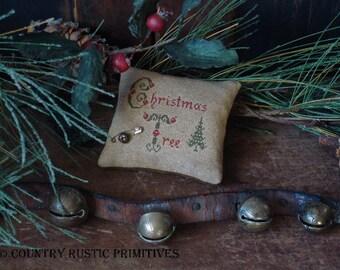 Primitive Christmas Tree Pinkeep Cross Stitch E Pattern PDF